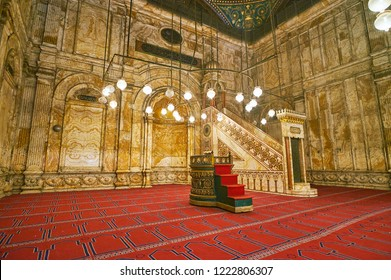 CAIRO, EGYPT - DECEMBER 21, 2017: The carved alabaster walls, mihrab and minbar of Muhammad Ali (Alabaster) Mosque of Saladin Citadel, on December 21 in Cairo