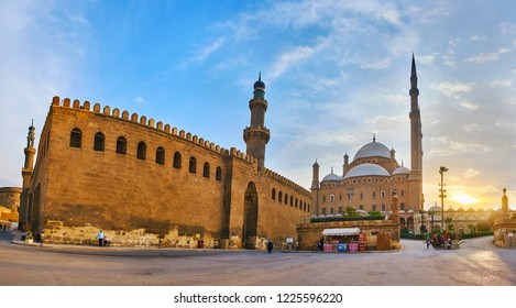 CAIRO, EGYPT - DECEMBER 21, 2017: Panorama of Saladin Citadel with medieval Al-Nasir Muhammad Mosque and  Muhammad Ali (Alabaster) Mosque and the sunset sky on the background, on December 21 in Cairo