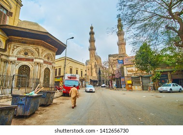 CAIRO, EGYPT - DECEMBER 22, 2017: The view on the famous landmarks of Al-Saleeba street - minarets of Mosque and Khanqah of Shaykhu and Sabil of Umm Abbas, on December 22 in Cairo, Egypt.