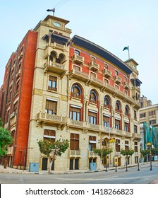 CAIRO, EGYPT - DECEMBER 22, 2017: The facade of scenic XX cent building of Banque Misr - the Central Bank of Egypt, located in Mohamed Farid street, on December 22 in Cairo.