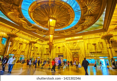 CAIRO, EGYPT - DECEMBER 22, 2017: The splendid interior of Ramses (Misr) Railway Station, decorated with ancient Egyptian motives, including pyramids and lotus columns, on December 22 in Cairo