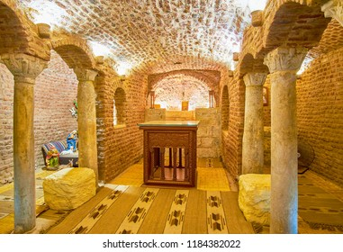 CAIRO, EGYPT - DECEMBER 23, 2017: The small stone crypt in St Barbara Church, where Holy Family lived during their flight into Egypt, on December 23 in Cairo.