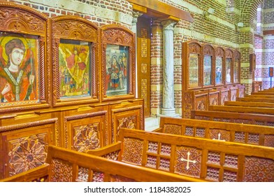 CAIRO, EGYPT - DECEMBER 23, 2017: The beautiful ancient Byzantine style icons in the prayer hall of St Barbara Church, on December 23 in Cairo.