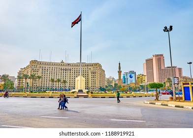 CAIRO, EGYPT - DECEMBER 23, 2017: The business part of Cairo lies on the bank of the Nile river and centered around Midan Tahrir square, on December 23 in Cairo