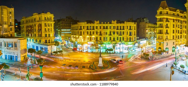 CAIRO, EGYPT - DECEMBER 23, 2017: The Talaat Harb square is one of the most busiest places in modern Cairo and is the center of night life of the city, on December 23 in Cairo.