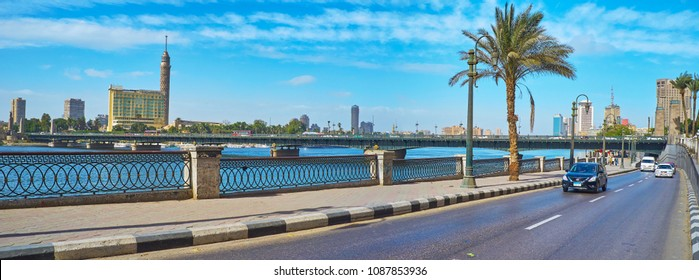 CAIRO, EGYPT - DECEMBER 24, 2017: The view from Corniche promenade on Qasr El Nil bridge across Nile river, connecting Downtown and Gesira Island, on December 24 in Cairo.