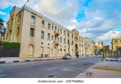 CAIRO, EGYPT - DECEMBER 24, 2017:  The facade of Ewart Hall - the cultural center, located in scenic mansion next to Midan Tahrir square, on December 24 in Cairo