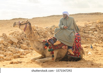 Cairo, Egypt - December 8, 2018: Bedouin sitting on his camel near Great Pyramids of Giza in Cairo, Egypt