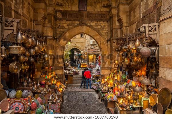 Cairo, Egypt - Feb 19 2018: Lamp or Lantern Shop in the Khan El Khalili market in Islamic Cairo