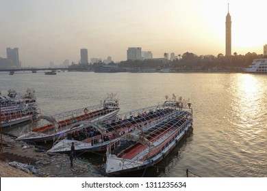 Cairo / Egypt - FEBRUARY 06 2015: Sunset over Nile river in Cairo, Egypt