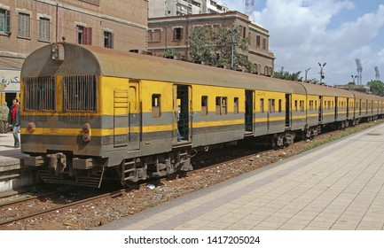 Cairo, Egypt - February 28, 2010: Old and Dirty Train at Ramses Railway Station in Cairo, Egypt.