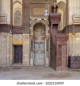 Cairo, Egypt - February 3 2018: Niche (Mihrab) and pulpit (Minbar) of Mosque of Sultan Qalawun, Moez Street
