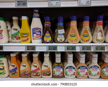 Cairo, Egypt - Jan 4, 2017: Mayonnaises and cheese sauces at supermarket.