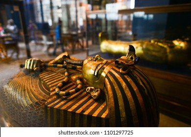 CAIRO, EGYPT - JANUARY 02 2016 : Tutankhamen's Coffin in Egyptian Museum in Cairo.