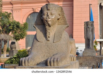 Cairo, Egypt - January 02, 2018, Sphinx at the Egyptian Museum, in front of Tahrir Square, Cairo, Egypt