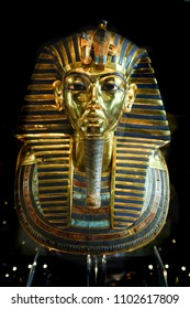 CAIRO, EGYPT - JANUARY 07 2016 : Tutankhamen's Mask in Egyptian Museum in Cairo. It is main attraction object of the Museum.
