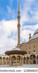 Cairo, Egypt - January 10 2016: Ablution fountain and minaret at the courtyard of the great Mosque of Muhammad Ali Pasha (Alabaster Mosque), Citadel of Cairo, commissioned by Muhammad Ali Pasha