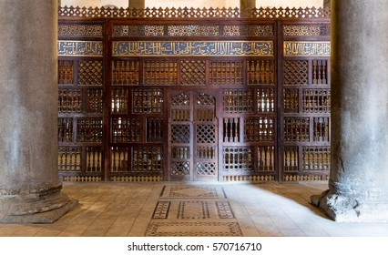 Cairo, Egypt - January 14 2017: Interior view of mashrabiya screens around the cenotaph in the mausoleum of Sultan Qalawun, part of Sultan Qalawun Complex built in 1285 AD, located in Al Moez Street