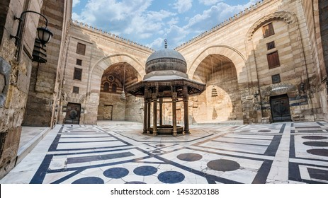 Cairo Egypt, January 2019: Ablutions Fountain in Courtyard of Sultan Barquq Mosque at Qalawun Complex in Cairo.