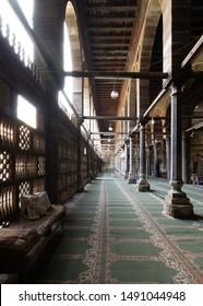 Cairo, Egypt- January 23 2016: Corridor at public historic mosque of Amir Al-Maridani with wooden arabisk wall - Mashrabiya