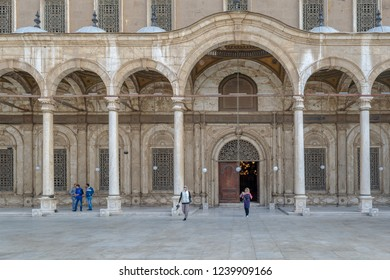 Cairo, Egypt - January 3 2016: Courtyard of the great Mosque of Muhammad Ali Pasha (Alabaster Mosque), Citadel of Cairo, commissioned by Muhammad Ali Pasha