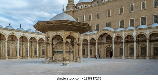 Cairo, Egypt - January 3 2016: Ablution fountain at the courtyard of the great Mosque of Muhammad Ali Pasha (Alabaster Mosque), Citadel of Cairo, commissioned by Muhammad Ali Pasha