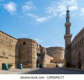 Cairo, Egypt- January 3 2016: Passage between National Military Museum and Mosque of Sayyid Sariya at the Citadel of Cairo (Salah El Din Al Ayouby Citadel)