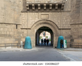 Cairo, Egypt- January 3 2016: Facade of National Military Museum with visitors departing, Citadel of Cairo, Salah El Din Al Ayouby Citadel