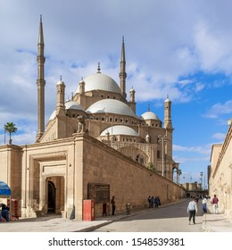 Cairo, Egypt- January 3 2016: The great Mosque of Muhammad Ali Pasha - Alabaster Mosque - Citadel of Cairo, commissioned by Muhammad Ali Pasha in 1848, one of the landmarks and attractions of Cairo