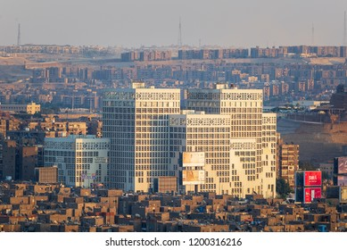 Cairo, Egypt - July 27 2018: Modern architecture building of Egyptian Ministry of Finance before sunset, Nasr City district