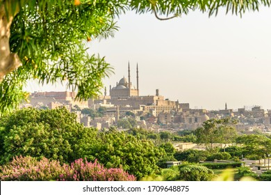 Cairo / Egypt - July 28, 2017: Relaxing View of Saladin Citadel with Muhammad Ali Mosque from Al-Azhar Park