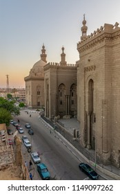 Cairo, Egypt - July 3 2018: External view of Al Rifai and Sultan Hasan historical mosques from Al Rifai Street, Old Cairo