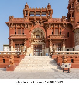 Cairo, Egypt- July 30 2020: Front facade of Baron Empain Palace, a historic mansion inspired by the Cambodian Hindu temple of Angkor Wat, located in Heliopolis district