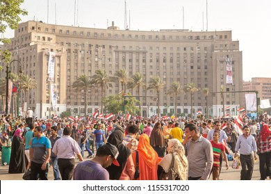 CAIRO, EGYPT - JUNE 8, 2014: Tahrir square - Thousands of Egyptians converged on Cairo.