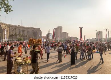 CAIRO, EGYPT - JUNE 8, 2014: Tahrir square on June 8, 2014 in Cairo, Egypt. Tahrir square - thousands of Egyptians protesters