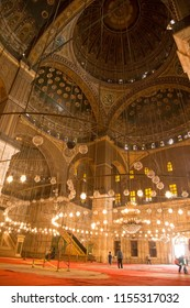 CAIRO, EGYPT - JUNE 8, 2014: Hanging lights in the interior of the Alabaster Mosque of Muhammad Ali Pasha at Cairo Citadel in Egypt.