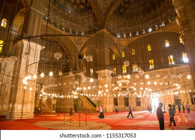 CAIRO, EGYPT - JUNE 8, 2014: Interior of the Mosque of Muhammad Ali, also known as the Alabaster Mosque, in the Saladin Citadel.