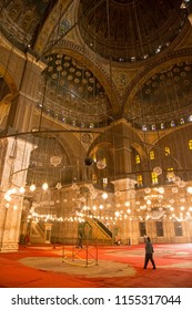 CAIRO, EGYPT - JUNE 8, 2014:The richly decorated interior of the Great Mosque of Muhammad Ali Pasha, also known as Alabaster Mosque.