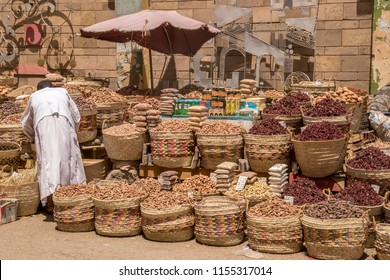 CAIRO, EGYPT - JUNE 9, 2014: Traditional egyptian bazaar with herbs and spices in Aswan, Egypt. spices bazaar