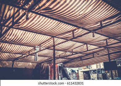 cairo, egypt, march 11, 2017: view of roof of old coffeshop at nasr city