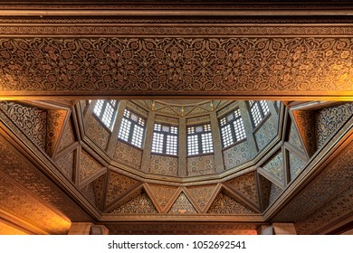 Cairo, Egypt - March 17 2018: Ceiling of Nilometer building, an ancient Egyptian water measurement device dates from 715 AD, used to measure the level of the Nile, located in Rhoda Island, River Nile
