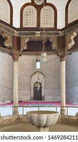 Cairo, Egypt- March 22 2015: View from inside the Ablution fountain of Mosque of Sultan Hasan overlooking the court