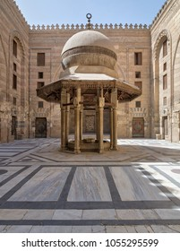 Cairo, Egypt - March 25 2018: Ablution fountain mediating the courtyard of Al-Sultan Al-Zahir Barquq Mosque, Al Moez Street, Cairo, Egypt