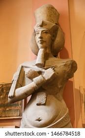 CAIRO, EGYPT - MARCH 28, 2019: Akhenaten Statue in Egyptian Museum, Cairo City, Egypt