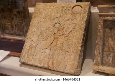 CAIRO, EGYPT - MARCH 28, 2019: Egyptian Tablet in Egyptian Museum, Cairo City, Egypt