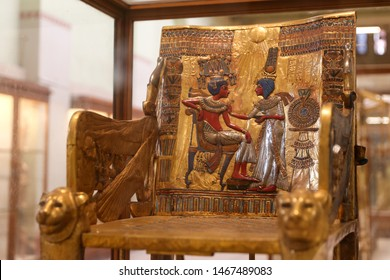 CAIRO, EGYPT - MARCH 28, 2019: The Golden Throne of Tutankhamun in Egyptian Museum, Cairo City, Egypt