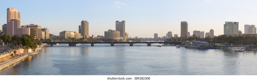 Cairo, Egypt - March 4, 2016: Panoramic view of central Cairo, the Nile river, the Kasr El Nile bridge and the Island of Zamalek.