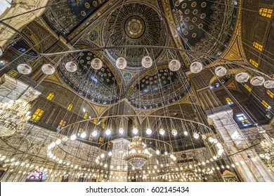 Cairo, Egypt - March 9, 2017: Interior of the Mohamed Ali mosque, located in the Saladin Citadel on the Mokkatam hill in Cairo.