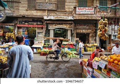 Cairo, EGYPT - May 2015: Store fruits and vegetables on a street in Cairo
