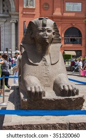 Cairo, Egypt - May 22, 2010 :: Sphinx at the Egyptian Museum, in front of Tahrir Square, Cairo.